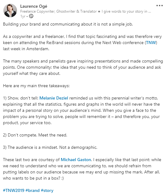 LinkedIn post in English about branding