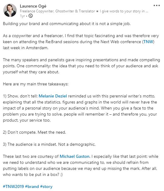 Post LinkedIn en anglais au sujet du branding et de l'image de marque