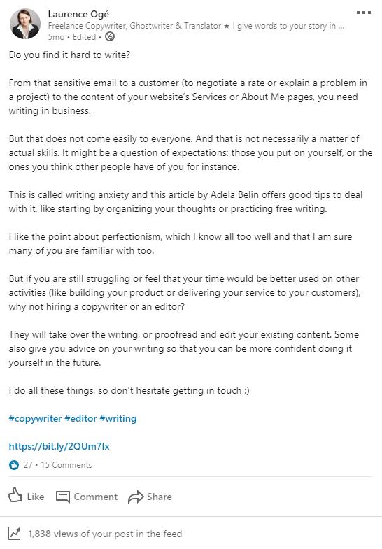 Post LinkedIn en anglais au sujet de l'anxiété qu'éprouvent certaines personnes au moment d'écrire