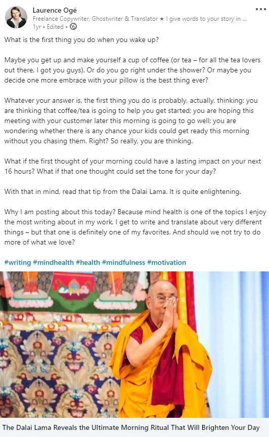 Post LinkedIn en anglais au sujet de la pleine conscience