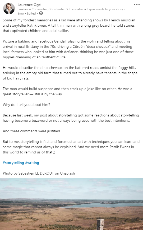 Post LinkedIn en anglais au sujet du storytelling