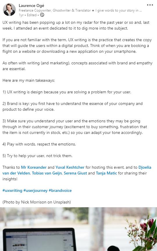 Post LinkedIn en anglais au sujet de la rédaction UX