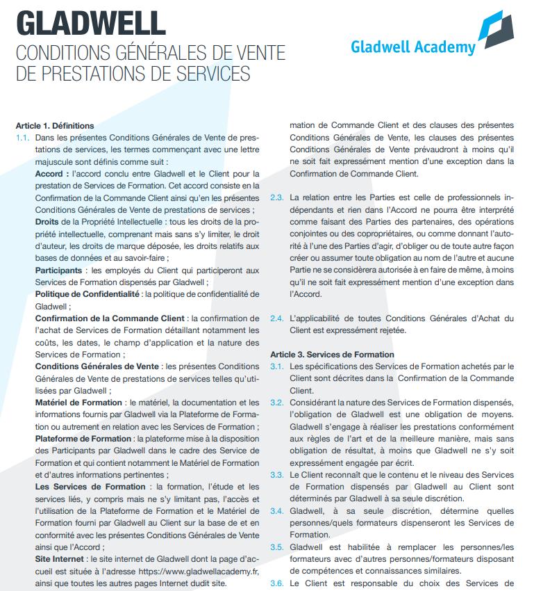 Traduction de l'anglais au français de Conditions générales de vente